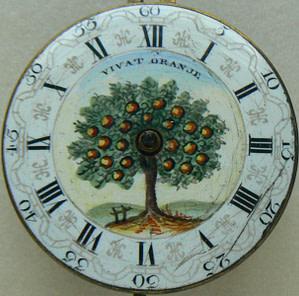 "Horloge met oranjeboom en ""VIVAT ORANJE"""